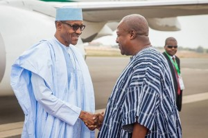 President Muhammadu Buhari being welcomed by his Ghanian counterpart President John Dramani Mahama at the Kotoka International Airport, Accra Ghana, as he arrived for a one day friendship visit to Ghana on Sept 7, 2015.