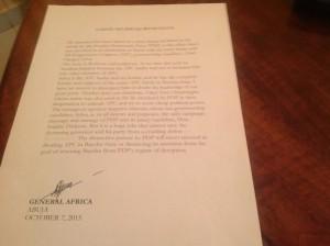 Gen Africa's letter