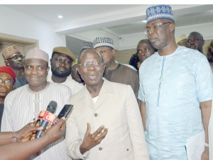 Sokoto state governor, Aminu Tambuwal; his Edo state counterpart and chairman of Bayelsa state All Progressives Congress (APC) governorship campaign committee, Adam Oshiomhole; and Bayelsa APC governorship candidate, Timipre Sylva, after the meeting of the committee on Monday Night in Abuja